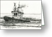 Pacific Drawings Greeting Cards - FOSS Tugboat SEA DUKE Greeting Card by James Williamson