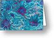 Blue Flowers Digital Art Greeting Cards - Foulee de petales - a01t Greeting Card by Variance Collections