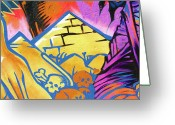 Straps Greeting Cards - Found Graffiti 28 cat Greeting Card by Jera Sky