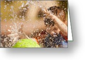 Kids At Play Greeting Cards - Fountain and Ball Greeting Card by Joshua Barneck