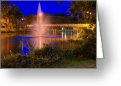 Time Framed Prints Photo Greeting Cards - Fountain and Bridge at Night Greeting Card by John Herzog