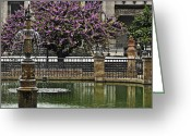 Lily Pad Greeting Cards Greeting Cards - Fountain and Tree Greeting Card by Mary Machare