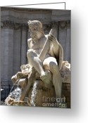 Trick Greeting Cards - Fountain. Piazza Navona. Rome Greeting Card by Bernard Jaubert