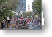 Occupy Greeting Cards - Fountains and Protesters in the Park Greeting Card by Patricia Taylor