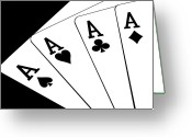 Playing Cards Greeting Cards - Four Aces I Greeting Card by Tom Mc Nemar