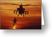 Gunship Greeting Cards - Four Ah-64 Apache Anti-armor Greeting Card by Stocktrek Images