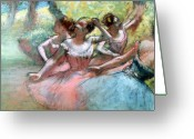 Stage Pastels Greeting Cards - Four ballerinas on the stage Greeting Card by Edgar Degas