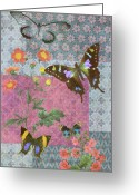 Quilting Greeting Cards - Four Butterfly Patch Blue Greeting Card by JQ Licensing