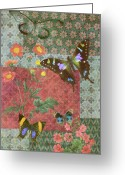 Quilting Greeting Cards - Four Butterfly Patch Green Greeting Card by JQ Licensing