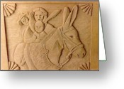 Woodcarving Reliefs Greeting Cards - Four Cultures Greeting Card by Thor Sigstedt