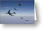 Air-to-air Greeting Cards - Four F-16s And A Kc-135 Fly Greeting Card by HIGH-G Productions
