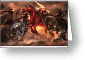 Revelations Greeting Cards - Four Horsemen Greeting Card by Alex Ruiz