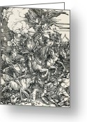 Riders Greeting Cards - Four Horsemen Of The Apocalypse Greeting Card by Sheila Terry
