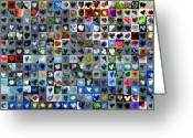 Grid Of Heart Photos Digital Art Greeting Cards - Four Hundred and One Hearts Greeting Card by Boy Sees Hearts