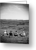 Ladies Photo Greeting Cards - Four Ladies On A Hill Greeting Card by Meirion Matthias