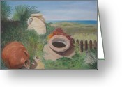 Jugs Greeting Cards - Four little brown jugs Greeting Card by Diane Larcheveque