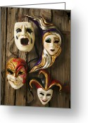 Cry Greeting Cards - Four masks Greeting Card by Garry Gay
