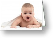 Cheering Greeting Cards - Four Month Old Baby Boy Greeting Card by Oleksiy Maksymenko