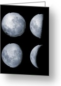 Lunar Mare Greeting Cards - Four Phases Of The Moon Greeting Card by Rolf Geissinger