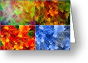 Expressionism Earth Greeting Cards - Four Seasons in Abstract Greeting Card by Lourry Legarde