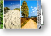 Autumn Roads Greeting Cards - Four Seasons Landscape Greeting Card by Christian Draghici