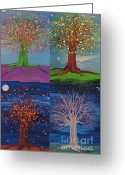Jrr Greeting Cards - Four Seasons Trees Greeting Card by First Star Art