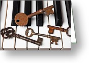 Pianos Greeting Cards - Four skeleton keys Greeting Card by Garry Gay