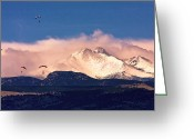 Meeker Greeting Cards - Four Skydivers With Longs Peak and Mount Meeker Rocky Mountain H Greeting Card by James Bo Insogna