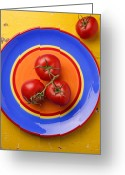 Food And Beverage Greeting Cards - Four tomatoes  Greeting Card by Garry Gay