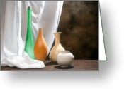 Pottery Photo Greeting Cards - Four Vases I Greeting Card by Tom Mc Nemar
