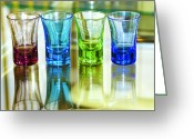 Illuminated Glass Greeting Cards - Four Vodka Glasses Greeting Card by Svetlana Sewell