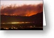 Striking Photography Greeting Cards - Fourmile Canyon Fire Burning Above North Boulder Greeting Card by James Bo Insogna