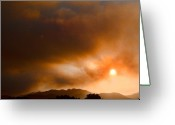The Lightning Man Greeting Cards - Fourmile Canyon Fire Sun Setting  Greeting Card by James Bo Insogna