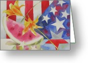 Flag Pyrography Greeting Cards - Fourth of July Greeting Card by Amy Householder