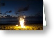 Hanalei Beach Greeting Cards - Fourth of July Fireworks Greeting Card by Adam Crowley