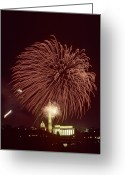 Lincoln Memorial Photo Greeting Cards - Fourth Of July Fireworks Display Greeting Card by Kenneth Garrett