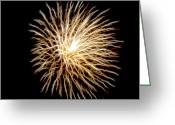 Pyrotechnics Digital Art Greeting Cards - Fourth of July Greeting Card by Mariola Bitner