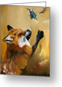 Oil Greeting Cards - Fox dances for Hummingbird Greeting Card by J W Baker