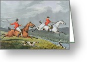 Hunting. Hunting Dog Greeting Cards - Fox Hunting - Full Cry Greeting Card by Charles Bentley