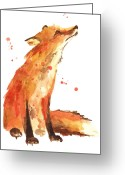 Sly Greeting Cards - Fox Painting - Print from Original Greeting Card by Alison Fennell