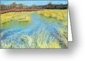Lanscape Pastels Greeting Cards - Fox River quiet - in the fall Greeting Card by Mike Gundlach