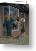 Naughty Greeting Cards - Fox Robber Caught Greeting Card by Martin Davey