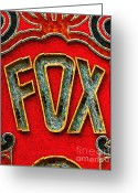 Oakland California Greeting Cards - Fox Theater Oakland Sign Greeting Card by Wingsdomain Art and Photography