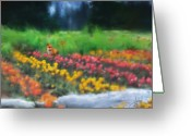 Impressionist Mixed Media Greeting Cards - Fox watching the Tulips Greeting Card by Stephen Lucas
