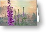 Purple Clouds Greeting Cards - Foxglove in Washington State Greeting Card by Jeff Burgess
