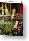 Split Rail Fence Painting Greeting Cards - Foxgloves Greeting Card by Carla Stein