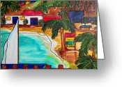 Virgin Islands Painting Greeting Cards - Foxys at Jost Van Dyke Greeting Card by Patti Schermerhorn