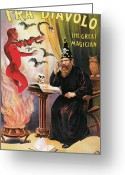 Magic Tricks Greeting Cards - Fra Diavolo the Great Magician Greeting Card by Unknown
