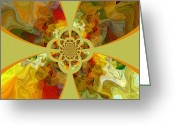 Colourful Mixed Media Greeting Cards - Fractal Floral Greeting Card by Bonnie Bruno