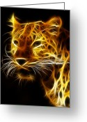 Whiskers Greeting Cards - Fractal Leopard Greeting Card by Wade Aiken